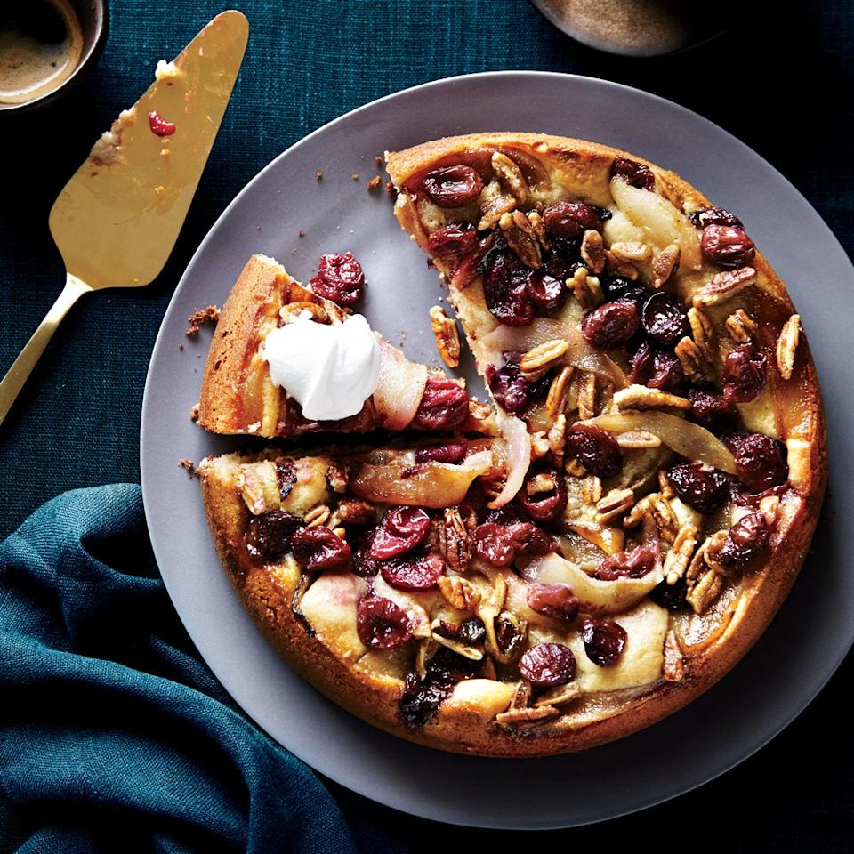 "<p>Fruit paired with cake is a magical thing, to say the least. Kuchen, traditional German yeast cake, is typically adorned with a variety of crunchy nuts, tart fruits, and creamy cheeses. A slice of this southern inspired sweet treat will have you reaching for another!</p> <p><a href=""https://www.myrecipes.com/recipe/roasted-grape-pear-kuchen"">Roasted Grape and Pear Kuchen Recipe</a></p>"