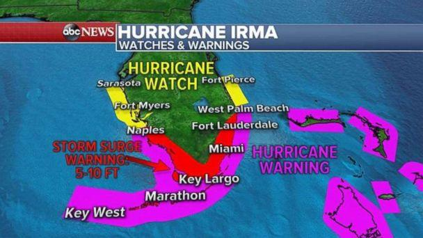 Hurricane and storm surge warnings for Florida as of early Friday, Sept. 8, 2017. (ABC NEWS)