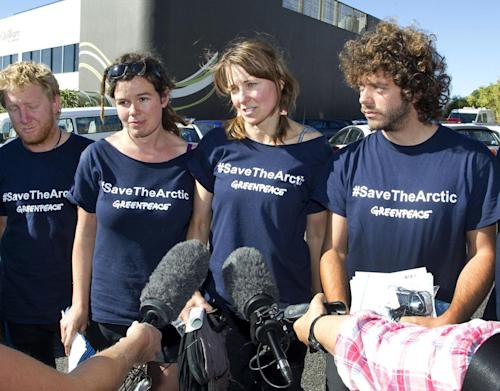 "FILE - In this Feb. 27, 2012 file photo provided by Greenpeace, actress Lucy Lawless, third from left, speaks along with Greenpeace activists, from left, Raoni Hammer, Vivienne Hadlow and Shai Naides, outside the central police station in New Plymouth, New Zealand, after their release on bail on charges relating to protesting aboard Arctic oil-drilling ship, the Noble Discoverer, in Port Taranaki. Lawless says she's won a ""great victory"" after a New Zealand judge handed her a modest sentence but declined to order costs sought by oil company Shell for her role in a protest aboard the oil-drilling ship. Lawless and seven other Greenpeace activists were each ordered Thursday, Feb. 7, 2013 to pay 651 New Zealand dollars ($547) costs to a port company and complete 120 hours of community service after earlier pleading guilty to trespass charges. (AP Photo/Greenpeace, Nigel Marple, File) NO SALES, EDITORIAL USE ONLY, MANDATORY CREDIT"