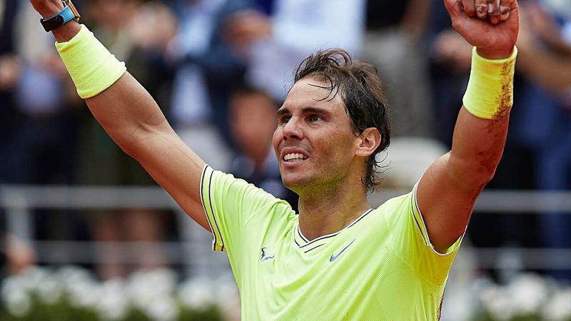 Rafael Nadal celebrates victory. (Photo by Quality Sport Images/Getty Images)