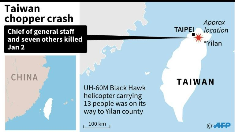 Map of Taiwan, showing the approximate area where a top military officer died during a helicopter crash landing