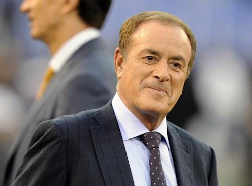 FILE - This Sept. 23, 2012 file photo shows sports commentator Al Michaels before an NFL football game between the Baltimore Ravens and the New England Patriots in Baltimore. Michaels, the longtime television play-by-play man, is working on a memoir that will be released by HarperCollins imprint William Morrow. (AP Photo/Nick Wass, file)