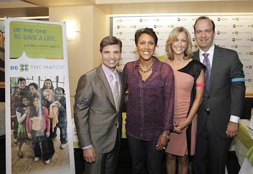 "This image released by ABC shows ""Good Morning America"" hosts, from left, George Stephanopoulos, Robin Roberts, Lara Spencer and ABC News President Ben Sherwood at a bone marrow registry drive at ABC News headquarters in New York on Tuesday, June 26, 2012. The national bone marrow donation registry Be The Match reported Tuesday that the rate of new registrants has more than doubled since the ""Good Morning America"" anchor Roberts announced on June 11 that she has MDS, a blood and bone marrow disease. (AP Photo/ABC, Lou Rocco)"