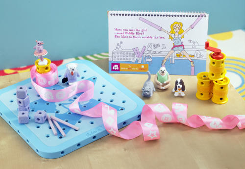 "File - This August 2012 file photo released by GoldieBlox, Inc., shows the toy items from ""GoldieBlox and the Spinning Machine,"" photographed in San Francisco. The toy's main character is a female engineer named Goldie, and is designed to spark an interest by girls in science and engineering. The Oakland, Calif.-based toy company that is a finalist for a Super Bowl ad contest is suing the Beastie Boys over an online video spoof of the group's song, ""Girls."" Goldieblox says it is suing the popular hip hop group in response to threats of copyright infringement from the group. (AP Photo/GoldieBlox Inc.,Susan Burdick, File)"