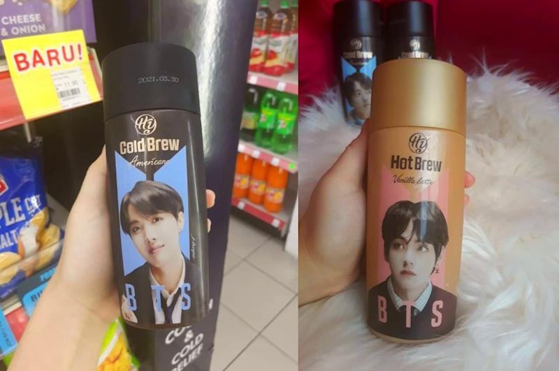 BTS coffee cups from 7-Eleven featuring members J-hope and V. Photo: Coconuts KL