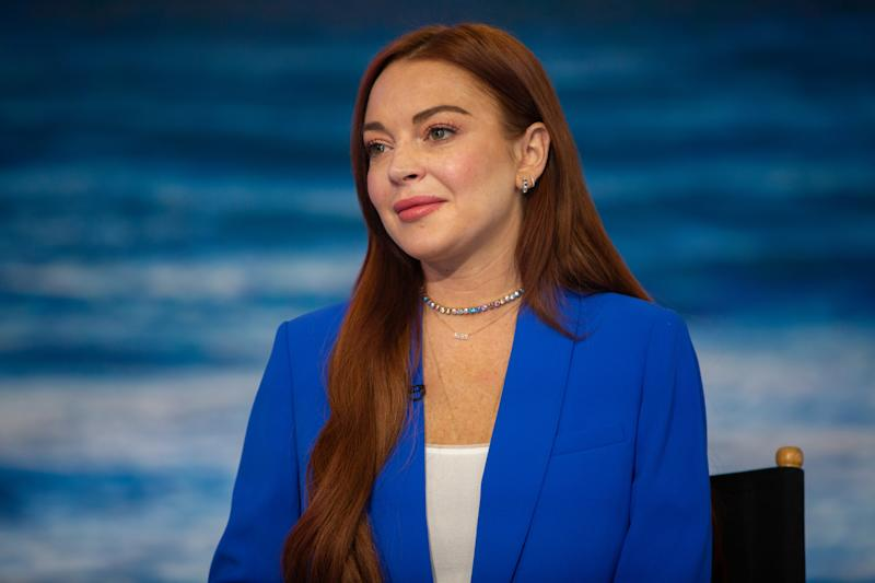 A photo of actor Lindsay Lohan wearing a blue suit on the Today show.
