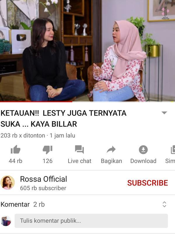 Unggahan Rossa. (Foto: YouTube Rossa Official)