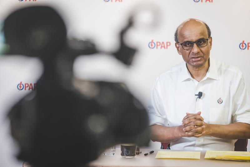 Senior Minister Tharman Shanmugaratnam during a live People's Action Party webcast during the General Election. (PHOTO: PAP)