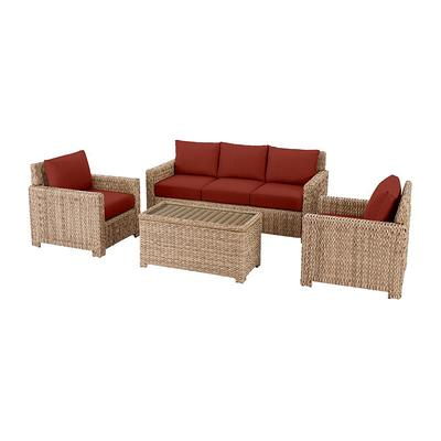 Sunbrella Henna Red Cushions, Hampton Bay Outdoor Furniture