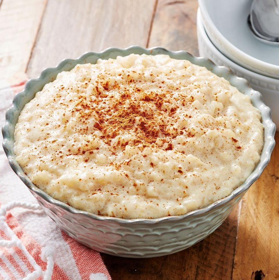 "<p>Served hot or cold, this rice pudding will be a hit.</p><p>Get the recipe from <a href=""https://www.delish.com/cooking/recipe-ideas/a28712015/easy-rice-pudding-recipe/"" target=""_blank"">Delish</a>.</p>"