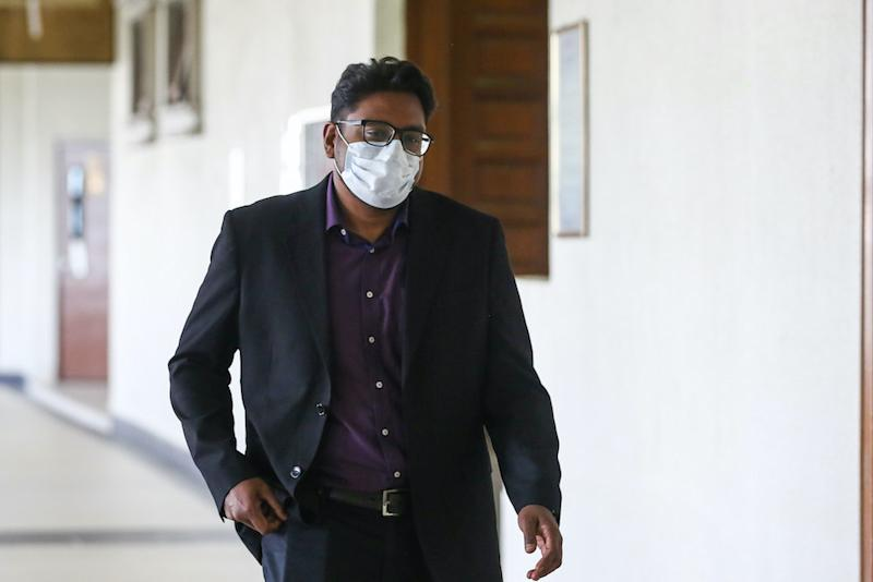 Jepak Holdings Sdn Bhd business partner Rayyan Radzwill Abdullah is pictured at the Kuala Lumpur High Court August 4, 2020. — Picture by Yusof Mat Isa