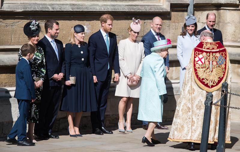 WINDSOR, ENGLAND - APRIL 21: Sophie, Countess of Wessex, Peter Phillips, Autumn Phillips, Prince Harry, Duke of Sussex, Zara Tindall, Mike Tindall, Catherine, Duchess of Cambridge and Prince William, Duke of Cambridge look on at Queen Elizebeth II attends Easter Sunday service at St George's Chapel on April 21, 2019 in Windsor, England. (Photo by Samir Hussein/Samir Hussein/WireImage)