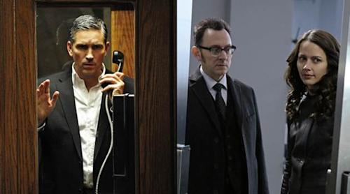 Jim Caviezel as Mr. Reese, Michael Emerson as Harold Finch, Amy Acker as Root, in the Season 2 finale of 'Person of Interest' -- CBS