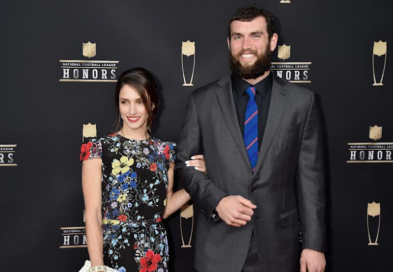 ATLANTA, GA - FEBRUARY 02: NFL player Andrew Luck and Nicole Pechanec attends the 8th Annual NFL Honors at The Fox Theatre on February 2, 2019 in Atlanta, Georgia. (Photo by Jeff Kravitz/FilmMagic)