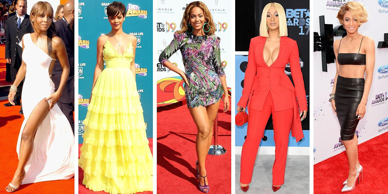 """<p>Since June 2001, we have looked forward to the BET Awards each summer. From the thoughtfully chosen hosts to the musical performances and the nostalgic moments where iconic celebs are reunited with their former cast mates (remember that time in 2013 when Nia Long and Larenz Tate stood side-by-side, prompting dreams of a sequel to <em>Love Jones</em>?) or former singing partners, everyone comes together to make us relive good times. It all happens in one place, Black Entertainment Television, the network that celebrates Black excellence in all of its glory.</p><p>The BET Awards were where some of your favorite memes were born (like Prince's side-eye and Whitney's """"thank you"""" speech) and where fashion trends reign supreme. Hosted by Amanda Seales on Sunday, June 28, this year's 20th anniversary show will take place virtually. Even in the new pandemic-friendly set-up, it will no doubt deliver unforgettable and powerful moments reflecting on this year. In the meantime, let's look back at some of our favorite fashion looks that celebs wore on the red carpet. </p>"""