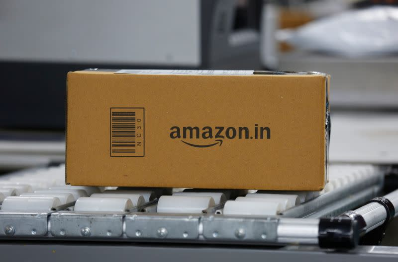 A shipment moves on a conveyor belt at an Amazon Fulfillment Centre (BLR7) on the outskirts of Bengaluru