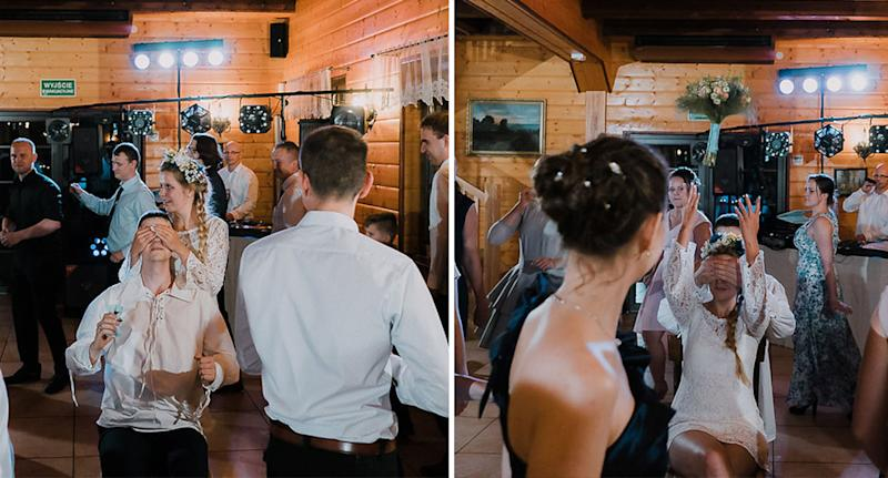 The throwing of the bouquet and bow tie. [Photo: Bureniusz]
