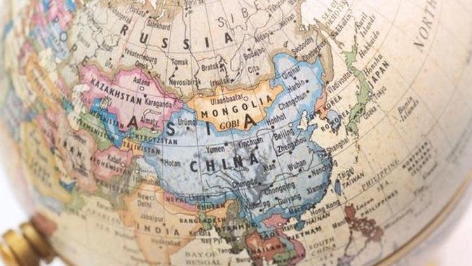 Ilustrasi peta dunia China. (Liputan6/AVCJ)