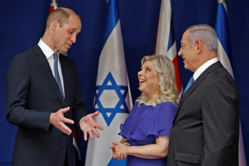 Britain's Prince William meets with Israeli Prime Minister Benjamin Netanyahu and his wife Sara on June 26, 2018 in Jerusalem
