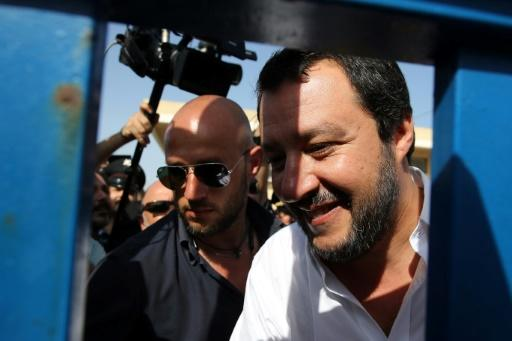 Italy's new hardline interior minister Matteo Salvini visits a migrant centre in Pozzallo, in the south of Sicily