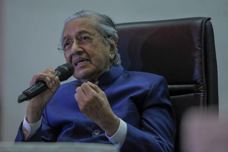 Dr Mahathir said Pejuang — Malay for warrior — was created to fight corruption. — Picture by Shafwan Zaidon