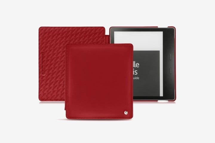 Picture of Kindle Oasis in dark red leather flip case
