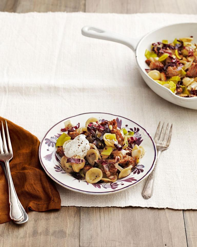 """<p>Seasoned ground turkey and a fat-free ricotta make this complex, flavorful pasta dish wow-worthy. </p><p><strong><a href=""""https://www.countryliving.com/food-drinks/recipes/a4858/orecchiette-sausage-radicchio-recipe-clv0214/"""" target=""""_blank"""">Get the recipe</a>.</strong></p><p><a class=""""body-btn-link"""" href=""""https://www.amazon.com/Patented-Strainer-Handles-Nonstick-Ti-Cerama/dp/B071L32Q8W/?tag=syn-yahoo-20&ascsubtag=%5Bartid%7C10050.g.31929300%5Bsrc%7Cyahoo-us"""" target=""""_blank"""">SHOP PASTA POTS</a></p>"""