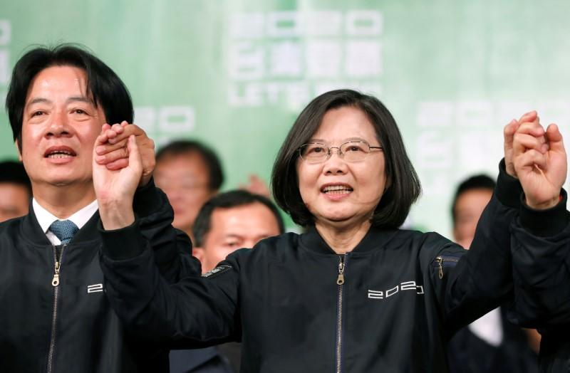 Hong Kong protesters fete landslide election win for Taiwan's Tsai