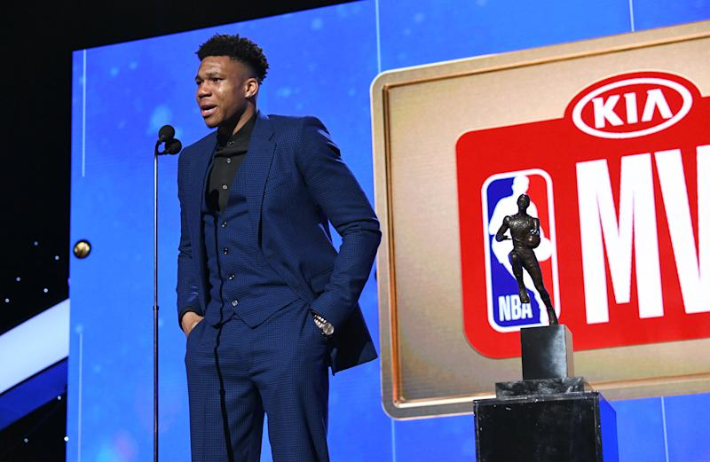 SANTA MONICA, CALIFORNIA - JUNE 24: Giannis Antetokounmpo accepts the Kia NBA Most Valuable Player award onstage during the 2019 NBA Awards presented by Kia on TNT at Barker Hangar on June 24, 2019 in Santa Monica, California. (Photo by Michael Kovac/Getty Images for Turner Sports)