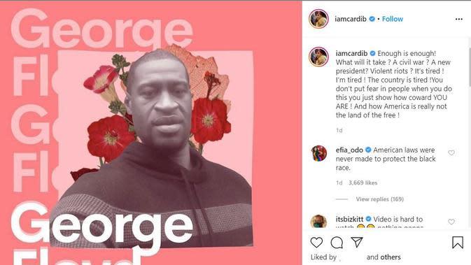 Unggahan Cardi B atas kematian George Floyd. (Instagram/ iamcardib)