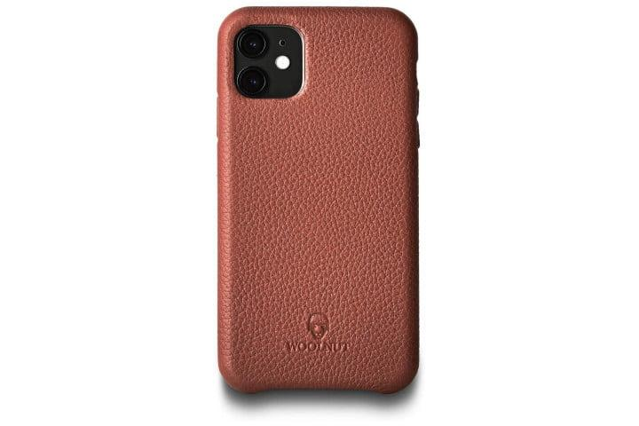 Photo shows the rear of an iPhone 11 Pro in a brown leather Woolnut case