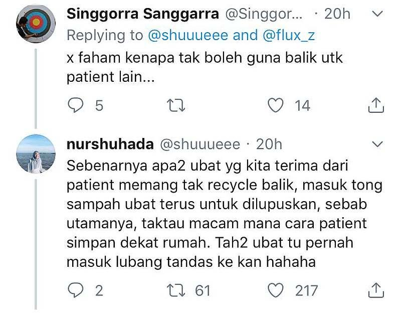 Nur explaining why hospitals don't reuse medicines that are returned. — Screengrab via Twitter/@shuuueee