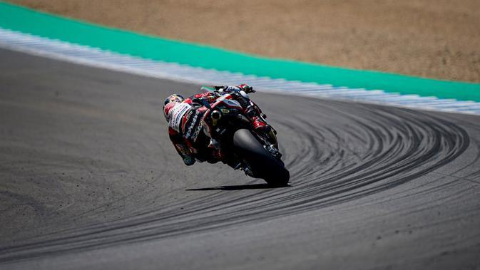 Aksi Takaaki Nakagami di sirkuit Jerez pada MotoGP Andalusia (twitter Takaaki Nakagami)