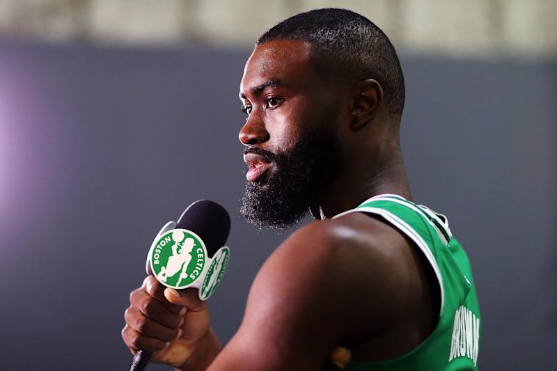 Jaylen Brown arrived at media day with a fresh haircut. (Getty Images)