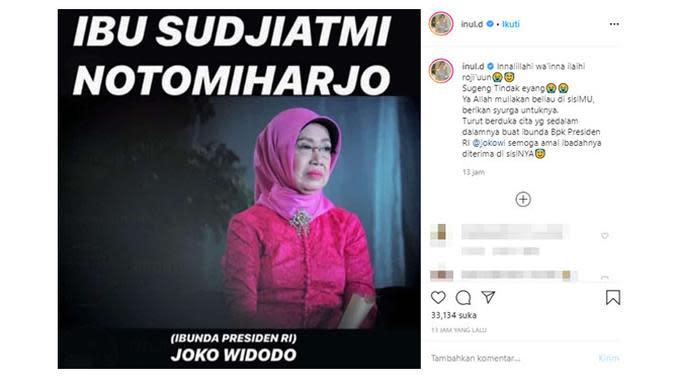 Ungkapan duka meninggalnya ibunda Presiden Jokowi dari para artis. (Sumber: Instagram/@inul.d)