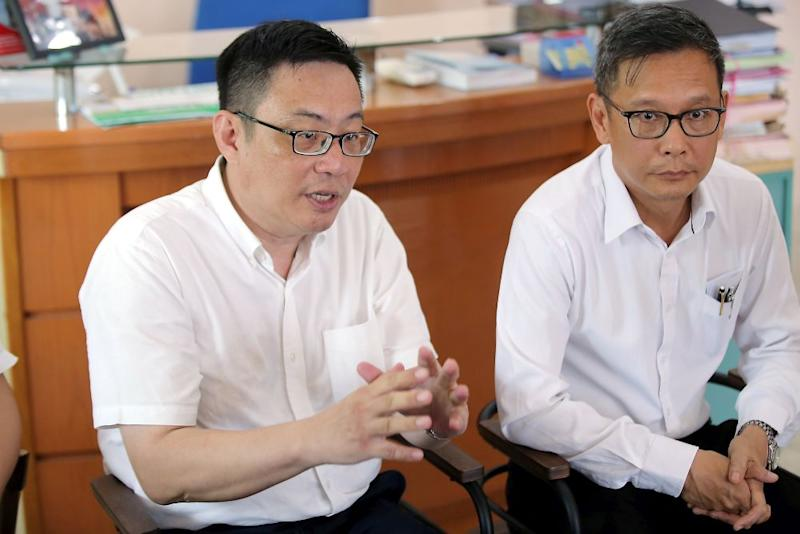 Malim Nawar assemblyman Leong Cheok Keng (left) and Pokok Asam assemblyman Leow Thye Yih speak to reporters during a press conference in Ipoh September 11, 2019. — Picture by Farhan Najib