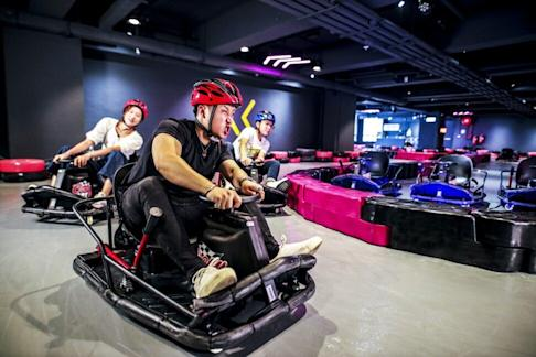 A 5,000 sq ft kart-racing course is a crowd puller at D2 Place Two shopping centre in Lai Chi Kok. Photo: Handout