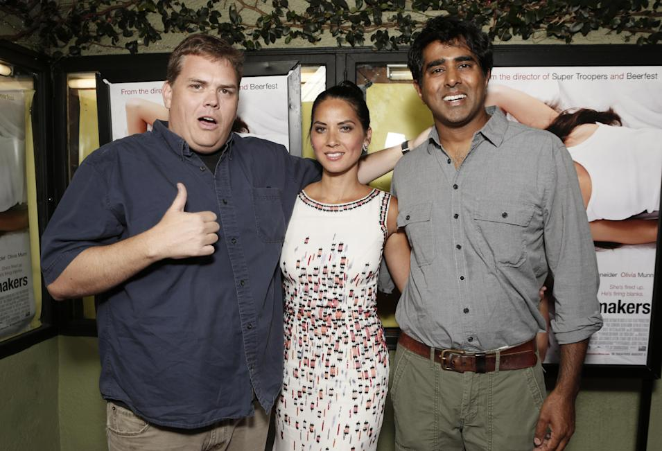 Commercial Image - Kevin Heffernan, Olivia Munn and Director/Actor Jay Chandrasekhar attend a screening of Millennium Entertainment's 'The Babymakers' at the Silent Movie Theatre on Tuesday July 24, 2012 in Los Angeles.  (Photo by Todd Williamson/Invision for Millennium Entertainment /AP Images)
