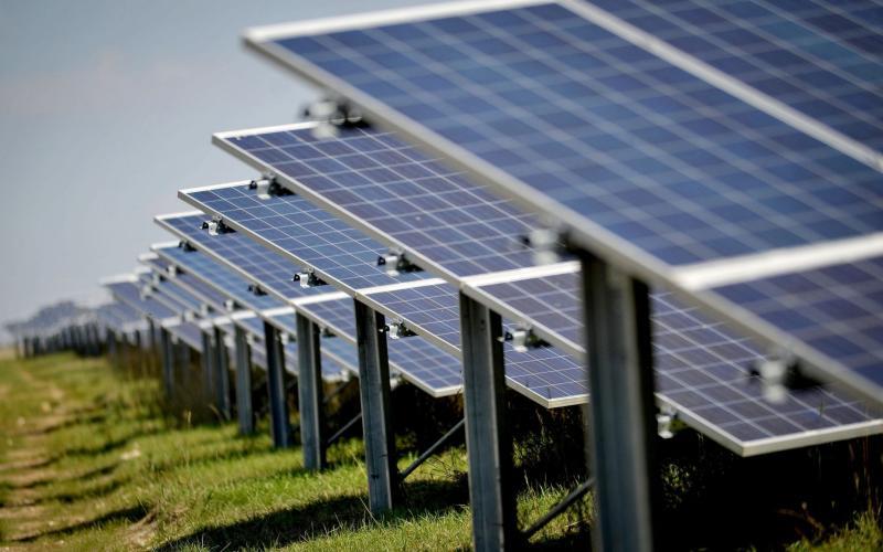 04/09/13 of solar panels at a solar farm - Tim Ireland/PA