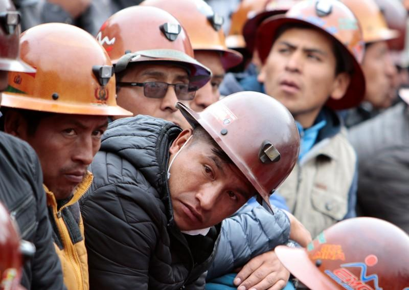 Miners attend a rally to support Bolivia's President Evo Morales in La Paz