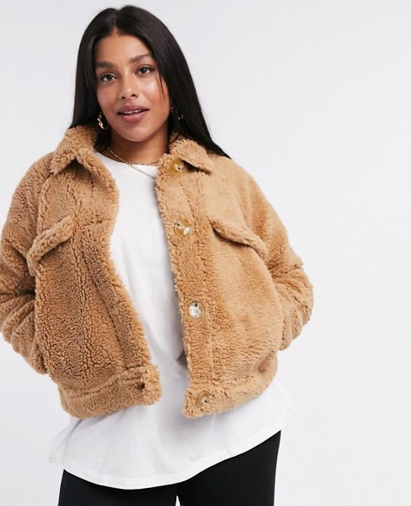 Missguided Plus cropped sherpa jacket in tan (photo via ASOS)