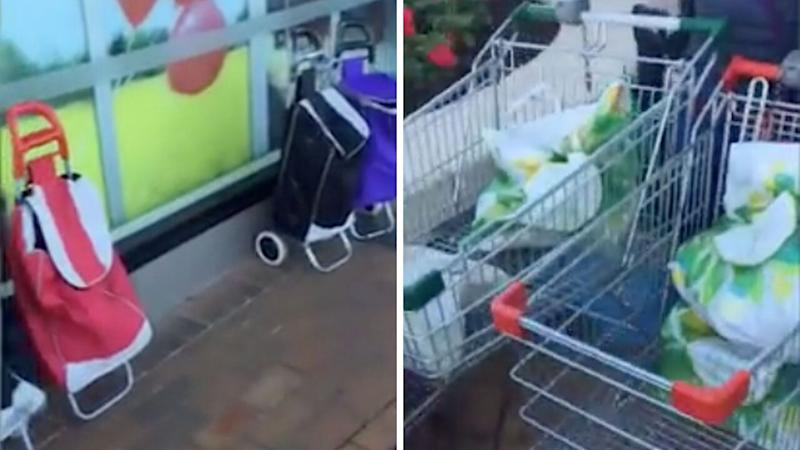 A split photo shows (left) three shopping carts outside a Woolworths supermarket and (right) plastic bags in two trolleys at Chadstone. Source: Facebook