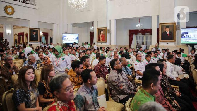 Suasana pembukaan Asian Agriculture and Food Forum (ASAFF) 2020 di Istana Negara, Jakarta, Rabu (12/3/2020). ASAFF merupakan hasil kolaborasi antarnegara dan antarpebisnis di kawasan Asia untuk membangun kemandirian pertanian dan ketahanan pangan. (Liputan6.com/Faizal Fanani)