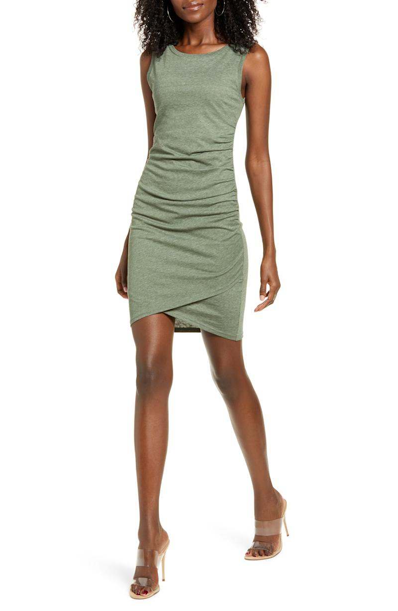 Leith Ruched Body-Con Tank Dress in green.