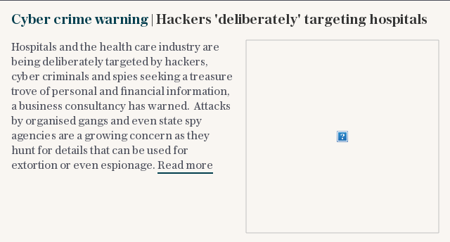 Cyber crime warning | Hackers 'deliberately' targeting hospitals