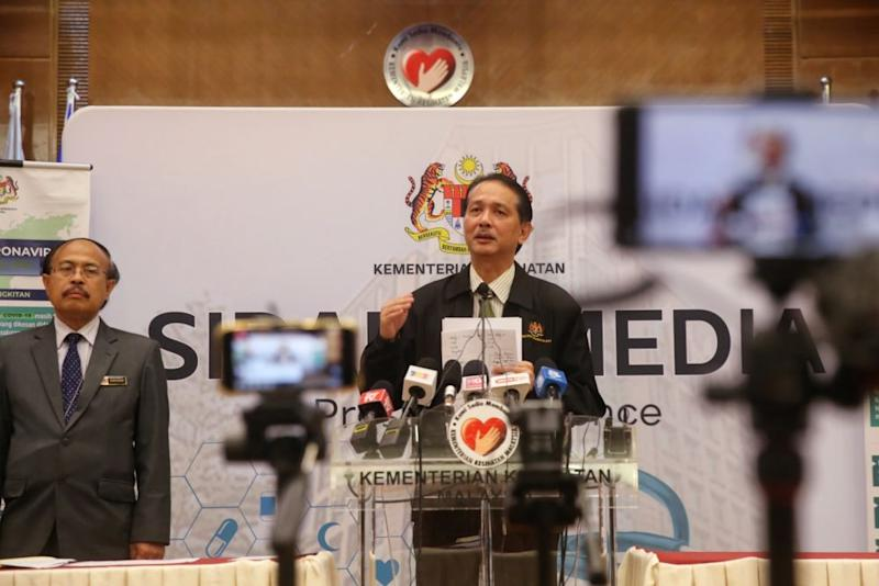 Health director-general Datuk Dr Noor Hisham Abdullah announced 159 new positive Covid-19 cases in Malaysia today, bringing the total number of cases in the country to 2,320. — Picture by Choo Choy May