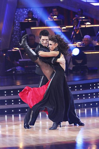 "Mya and Dmitry Chaplin perform on ""Dancing with the Stars."""
