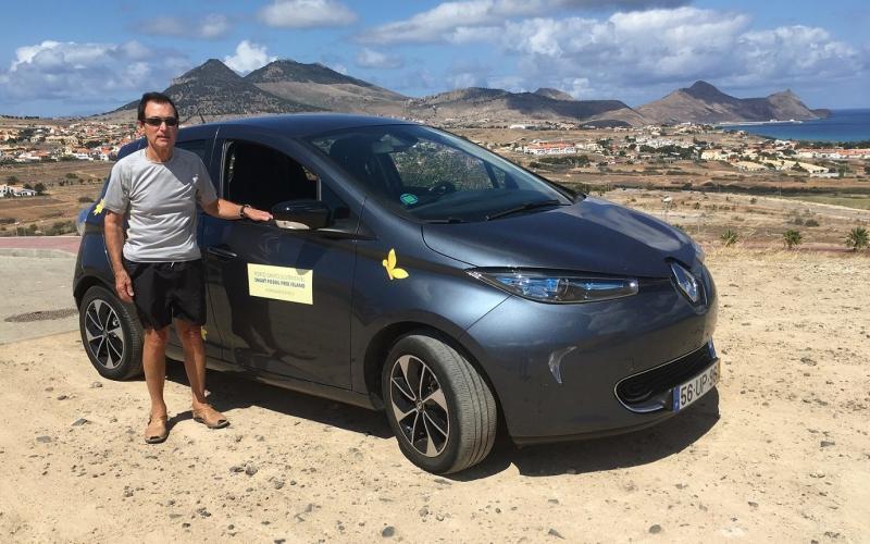 Edward Stephens with electric Renault Zoe on Porto Santo
