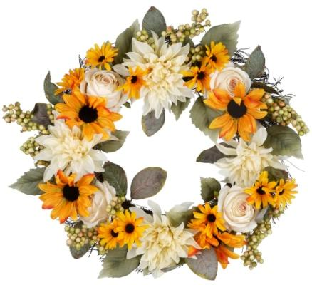 Sunflower, Rose, Dahlia & Berry Wreath. (Image via Michaels)