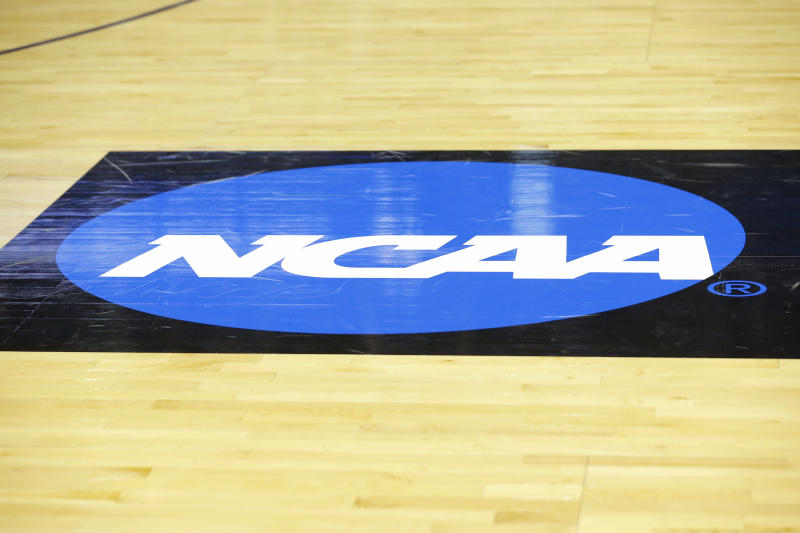 EVANSVILLE, IN - MARCH 30: The NCAA Logo on display prior to the NCAA Division II Final Four Championship basketball game between the Northwest Missouri State Bearcats and the Point Loma Sea Lions on March 30, 2019, at the Ford Center in Evansville, Indiana. (Photo by Jeffrey Brown/Icon Sportswire via Getty Images)